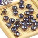 Beads, Selenial Crystal, Crystal, Dark purple AB, Faceted Discs, 8mm x 8mm x 6mm, 10 Beads, [ZZC107]